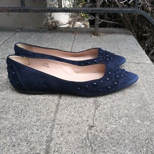 TOD'S Blue Suede Blue Studded Loafer Shoes Flats